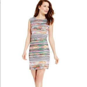 Sandra Darren Perforated DigitalPrint Sheath Dress